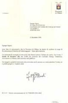 La lettera del pres. Penati al dr. Kuciukian di assegnazione del riconoscimento