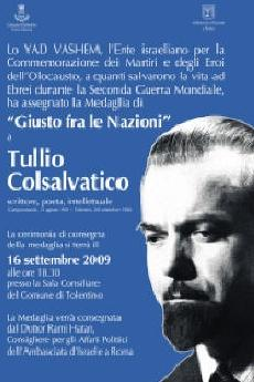 """Invito alla cerimonia di assegnazione del titolo di """"Giusto fra le nazioni"""" a Tullio Colsalvatico"""