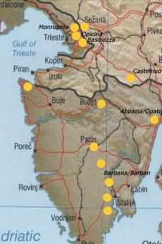 Distribuzione geografica delle foibe (fonte Wikicommons)