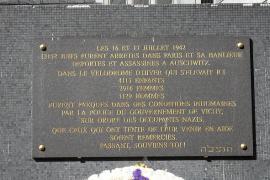 La targa che ricorda la retata del Velodromo d'inverno (foto di Wikicommons)