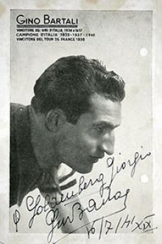 The picture Gino Bartali gave the Goldberg family (source: Yad Vashem)
